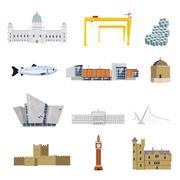 Northern Ireland Attractions Stock Illustration