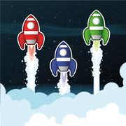 Rockets above Clouds Stock Illustration