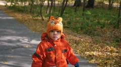 The beautiful child walking in autumn Park Stock Footage