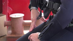 Hand female diver in gear Stock Footage