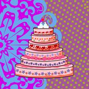 Wedding cake with a pair of swans Stock Illustration