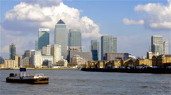 London Docklands skyline and the River Thames, England Stock Footage