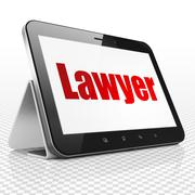 Law concept: Tablet Computer with Lawyer on display Stock Illustration