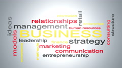 Business Strategy Management Word Cloud Text Animation Stock Footage
