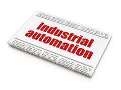 Manufacuring concept: newspaper headline Industrial Automation Piirros