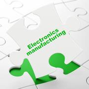 Manufacuring concept: Electronics Manufacturing on puzzle background Stock Illustration