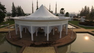 Misty morning lift off aerial footage of Floating Mosque in east malaysia Stock Footage