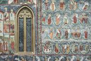 Painted murals at Sucevita Monastery, a Gothic church, one of the Painted Stock Photos