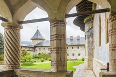 Sucevita Monastery, a Gothic church, one of the Painted Churches of Northern Stock Photos