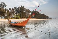 Fishing boat on Maungmagan Beach, Dawei, Tanintharyi Region, Myanmar (Burma), Stock Photos