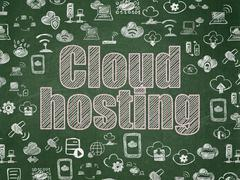 Cloud computing concept: Cloud Hosting on School board background Stock Illustration
