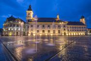 Piata Mare (Great Square) at night, with Sibiu City Hall on left and Sibiu Stock Photos