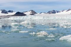 Lilliehook glacier in Lilliehook fjord, a branch of Cross Fjord, Spitsbergen Stock Photos