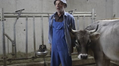 Portrait of Senior Farmer in agriculture farm Stock Footage