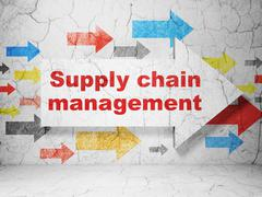 Advertising concept: arrow with Supply Chain Management on grunge wall Stock Illustration
