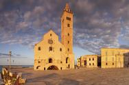 San Nicola Pellegrino cathedral at sunset, Piazza del Duomo, Trani, Le Murge, Stock Photos