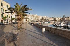 Promenade at the harbour, old town, Trani, Le Murge, Barletta-Andria-Trani Stock Photos
