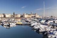 View over the harbour to San Nicola Pellegrino cathedral, Trani, Le Murge, Stock Photos