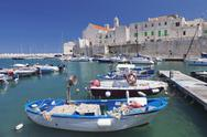 Fishing boats at the harbour, old town with cathedral, Giovinazzo, Bari Stock Photos