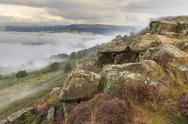 Early morning fog, partial temperature inversion, Curbar Edge, Peak District Stock Photos
