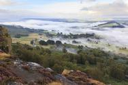 Early morning fog around Curbar village, from Curbar Edge, Peak District Stock Photos