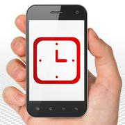 Timeline concept: Hand Holding Smartphone with Watch on display Stock Illustration