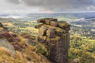 Curbar Edge, summer heather, view towards Chatsworth, Peak District National Stock Photos