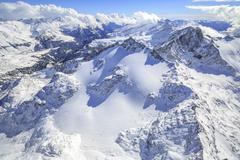 Aerial view of Peak Ferra covered with snow, Spluga Valley, Chiavenna, Stock Photos