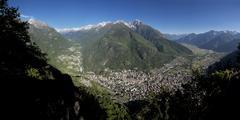 Panoramic view of Chiavenna Valley and Bregaglia, Valtellina, Lombardy, Italy, Stock Photos