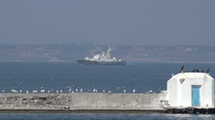 Anti-submarine corvettes class BG50 Hryhoriy Kuropyatnykov exercises Sea Breeze Stock Footage
