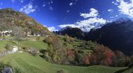 Panorama of the village of Soglio surrounded by colorful woods, Bregaglia Stock Photos