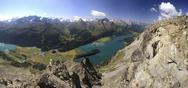 Panoramic view of lakes, St. Moritz, Engadine, Canton of Graubunden, Stock Photos
