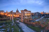 The blue light of dusk on the ancient Imperial Forum, UNESCO World Heritage Stock Photos