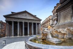 View of old Pantheon a circular building with a portico of granite Corinthian Stock Photos