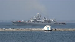 Ukrainian Navy Flagship - frigate Hetman Sahaydachniy U130 exercises Sea Breeze Stock Footage
