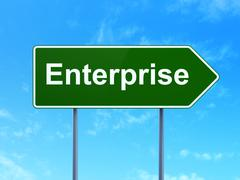 Business concept: Enterprise on road sign background Piirros