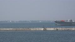 Ukrainian Navy Flagship - frigate Hetman Sahaydachniy U130 background of pier Stock Footage
