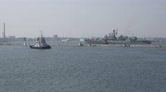 Ukrainian Navy Flagship frigate Hetman Sahaydachniy U130 exercises Sea Breeze Stock Footage