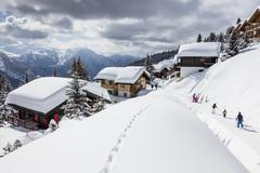 Tourists and skiers enjoying the snowy landscape, Bettmeralp, district of Raron, Stock Photos