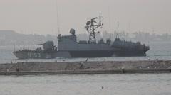 Ukrainian Navy Missile boat class U153 Pryluky exercises Sea Breeze Stock Footage