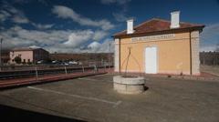 The train station in Mora de Rubielos, Gúdar-Javalambre, Spain Stock Footage
