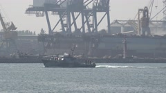 Ukrainian Navy artillery boat Zhuk class U170 Skadovsk exercises Sea Breeze Stock Footage
