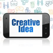 Finance concept: Smartphone with Creative Idea on display Stock Illustration