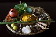 Different Indian spices on display at Swaswara, Karnataka, India, Asia Stock Photos