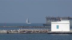 USS Whidbey Island dock landing ship enters port near pier Stock Footage