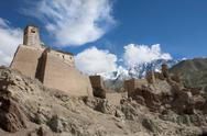 The restoration of the citadel and temples of Basgo, perched on an eroded Stock Photos