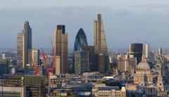 Vew of the City of London from the top of Centre Point tower, London, England, Stock Photos