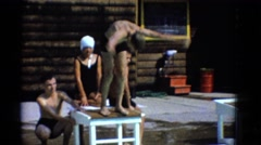 1953: boy dives into pool NEW YORK Stock Footage