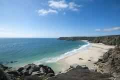 Near Logan Rock at the top of Treen beach in Cornwall, the westernmost part of Stock Photos