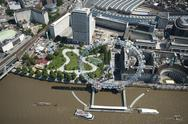 Aerial view of the London Eye and River Thames, London, England, United Kingdom, Stock Photos